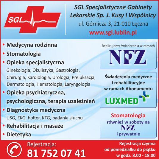 """""""SGL"""" Specjalistyczne Gabinety Lekarskie sp. j. Kusy i Wspólnicy"""